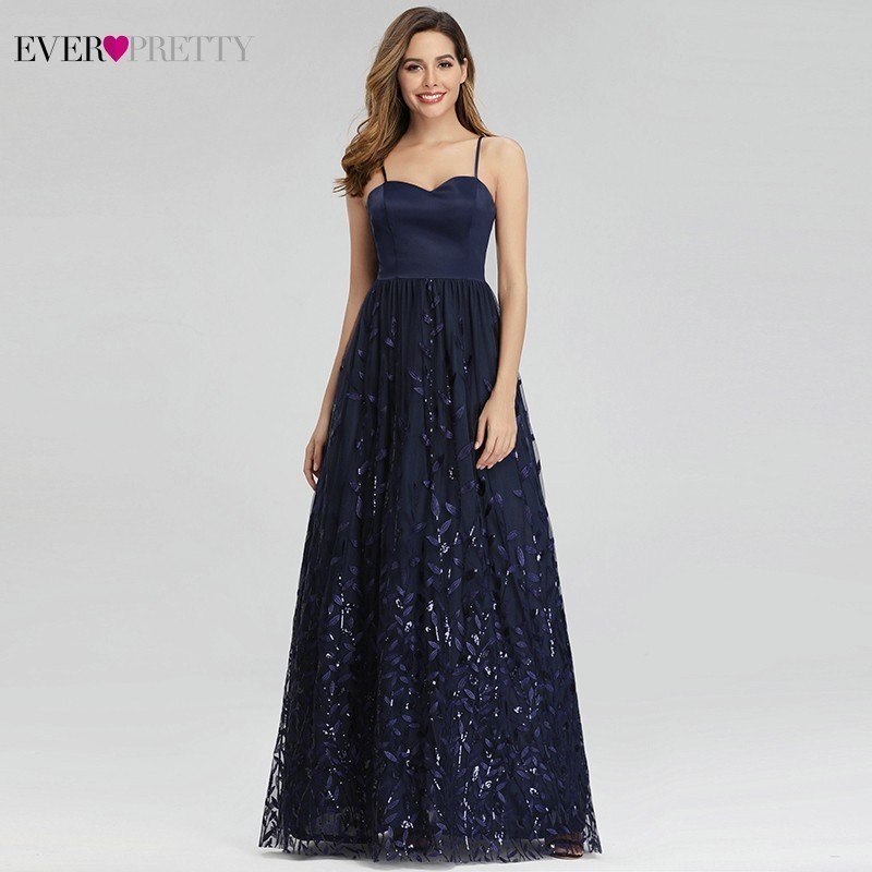 Ever Pretty Sequined Evening Dresses Long A-Line Spaghetti Straps Elegant Navy Blue Formal Dresses EP00977NB Robe Soiree Femme