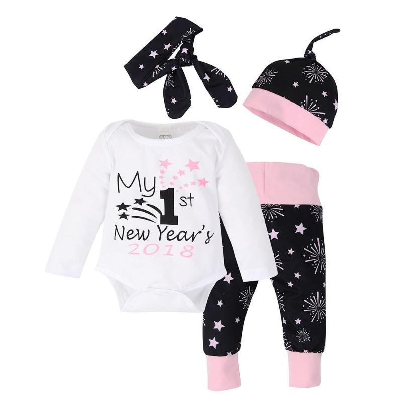 Hard-Working 4pcs/set Baby Letter Print Romper + Fireworks Star Pants + Hat + Headband