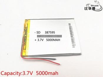 10pcs/lot 3.7V 387595 5000mAH Li-ion battery For 7 8 9 inch tablet PC ICOO 3.7V Polymer lithiumion