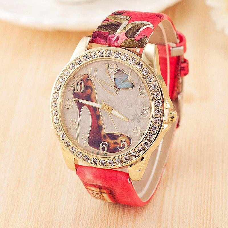 高級ニコール · リー ハイヒール の靴腕時計女性の ドレスクォーツ腕時計ラインストーンレザー時計レロジオ feminino montre ファム