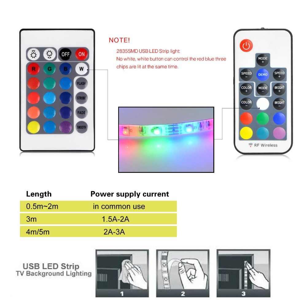 50 سنتيمتر 1 M 2 M 3 M 4 M 5 M 5 V USB الطاقة RGB LED قطاع ضوء مصباح SMD 3528 عيد الميلاد زخارف مكتب مرنة الشريط للتلفزيون إضاءة خلفية