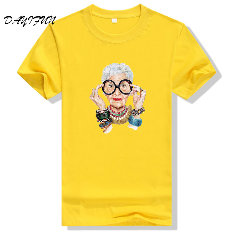 2019 Summer Tumblr Fashion Old Women Print T Shirt Women Cotton O-neck Short Sleeve Tops For Women Kawaii Tshirt T3262