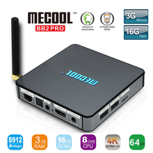 MECOOL BB2 Pro Android TV Box Amlogic S912 64 bit Octa core ARM Cortex-a53-prozessor 3 GB 16 GB 4 Karat WiFi BT4.0 2,4G/5,8G Wifi Set-top boxen