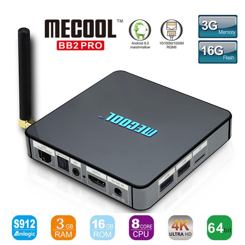 S912 MECOOL BB2 Pro Caixa de TV Android Amlogic 64 bit Octa núcleo ARM BT4.0 Cortex-A53 3 GB 16 GB 4 K Wi-fi 2.4G/5.8G Wi-fi Set-top caixas