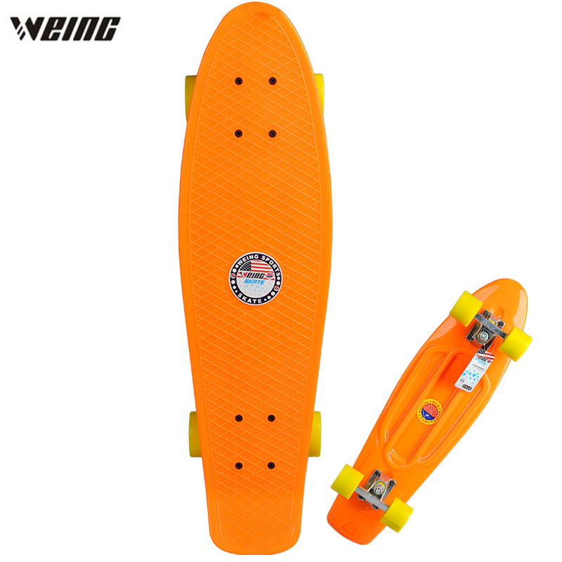 WEING 27 Inch Portable Four Wheels Anti Slip Skateboard Street Fish Type Long Skateboarding Outdoor Sports For Adult Or Children