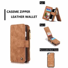 CaseMe Retro Wallet Case For iphone 5/5s/SE/6/6s/6s plus Luxury Book Style Phone Case For iphone 7 7 plus Flip Leather Cover