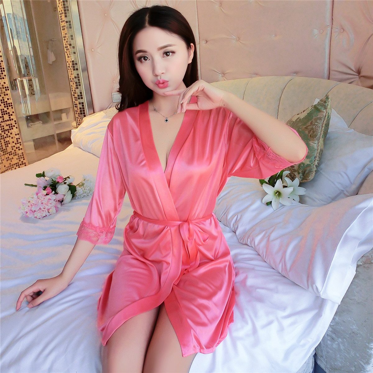 45a5c6bc1a Wholesale Mature Sexy Ice Silk Satin Night Kimono Robe Short Bathrobe  Perfect Wedding Bride Robes Dressing Gown For Women-in Robes from Underwear  ...