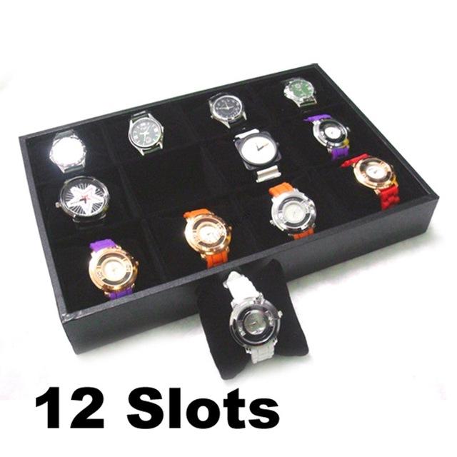 12 Joyas Colección de Relojes Display caja de Almacenamiento Organizador Caja de Presentación Reloj de Hombre de Cuero de Imitación Regalo