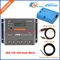 EPSolar 60A solar 24V portable controller VS6024BN BLE BOX adapter APP use Temp sensor EPEVER brand high quality controller