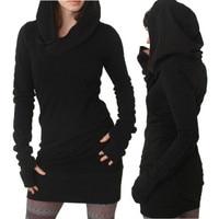 Herbst Frauen Langarm Reine Farbe Mit Kapuze Sweatshirt Damen Winter Warm Langen Shirts Kleid frauen Beiläufige Hoodies Pullover # LH