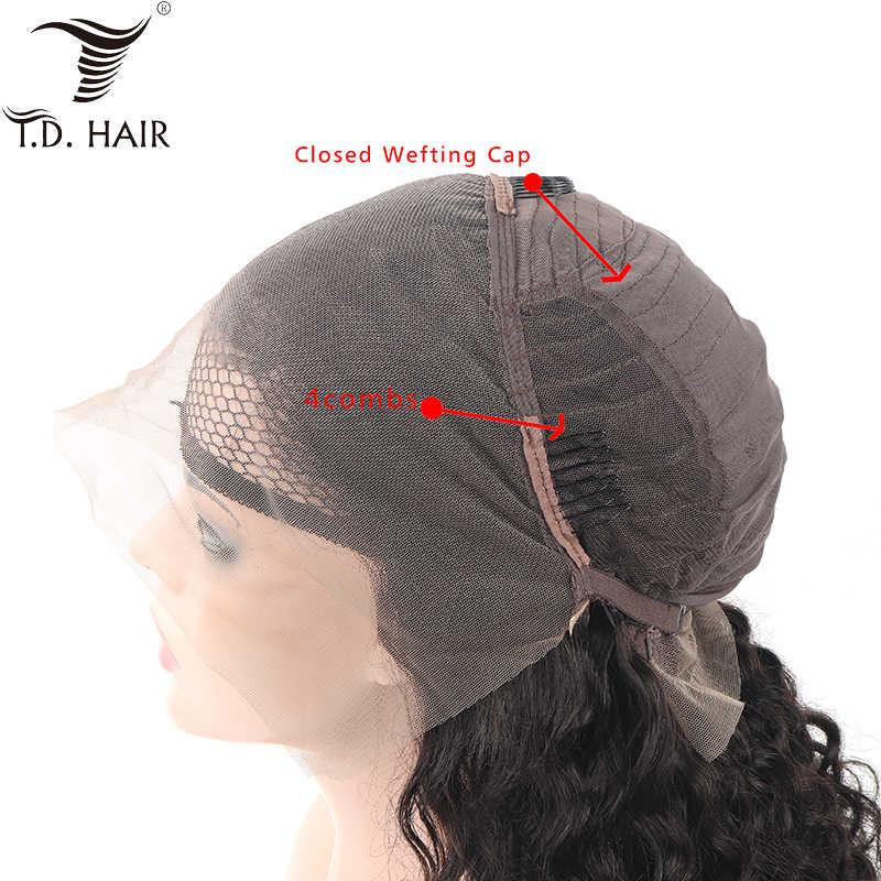 Tdhair глубокая волна Синтетические волосы на кружеве человеческих волос парики для чернокожих Для женщин 130% 150% 180% плотность натуральный Цвет парик с крупными волнами
