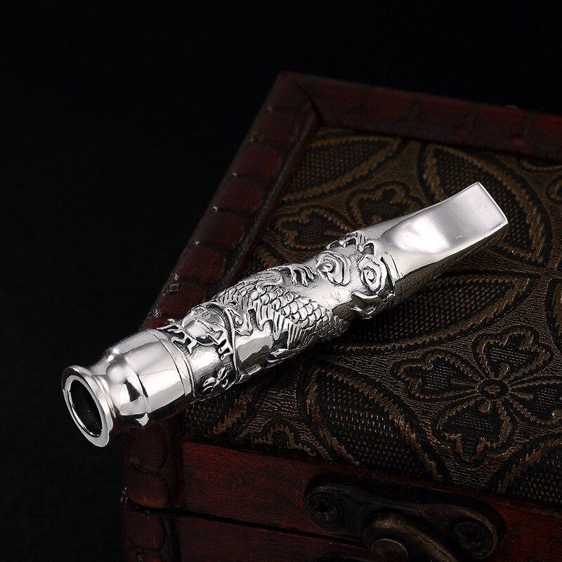 S990 In Argento Puro Supporto di Sigaretta Fatto A Mano 24.5g Intagliato Drago Cinese Sigara-in Accessori per sigarette da Casa e giardino su  Gruppo 1