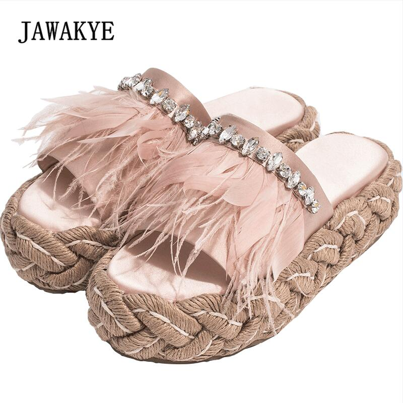 2018 Feather Rhinestone Sandals Woman Open Toe Straw Thick Bottom Luxury Satin Slippers Women Fashion Gladiator Sandals 2018 Feather Rhinestone Sandals Woman Open Toe Straw Thick Bottom Luxury Satin Slippers Women Fashion Gladiator Sandals