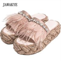 2018 Feather Rhinestone Sandals Woman Open Toe Straw Thick Bottom Luxury Satin Slippers Women Fashion Gladiator Sandals