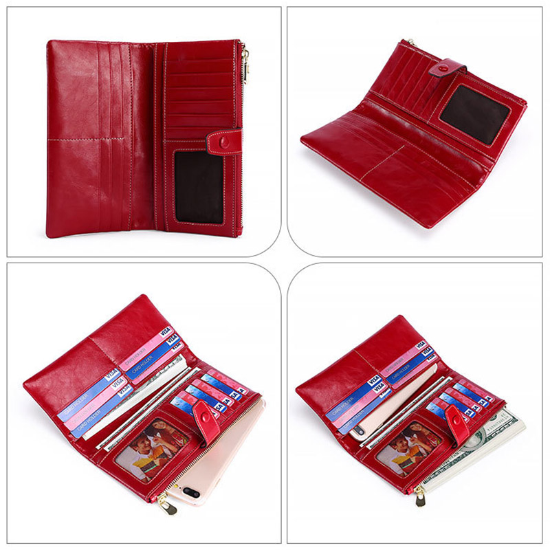 CICICUFF RFID Genuine Leather Women Wallet Female Long Women Purses Oil Wax Leather Lady Coin Purse Card Holder Clutch Wallets