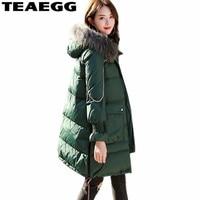 TEAEGG Plus Size 4XL 5XL Winter Jacket Woman Real Raccoon Fur Hooded Casual 2017 Womens Parka