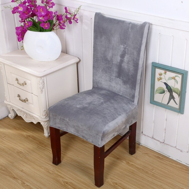 dining chair covers aliexpress computer chairs staples spandex velvet cover 100 polyester solid anti dirty decoration home hotel part case