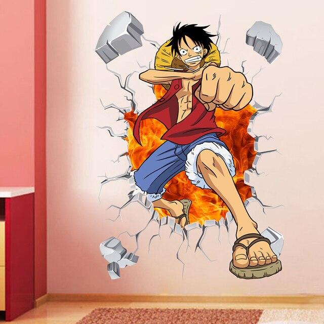 One Piece Anime 3D Break Wall Stickers