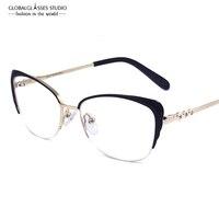 Moda Kobiety Marka Designer Kot Okulary Metal Wdzięku Połowa Ramki Okulary Pani Oprawki Wysokiej Jakości Obiektyw FVG7001 RX LZ