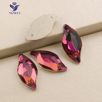 YANRUO 3254 Leaf Fuchsia Appare Fabric Sewing Rhinestones Stones And Crystal For Rhinestone Decoration Glass Stones