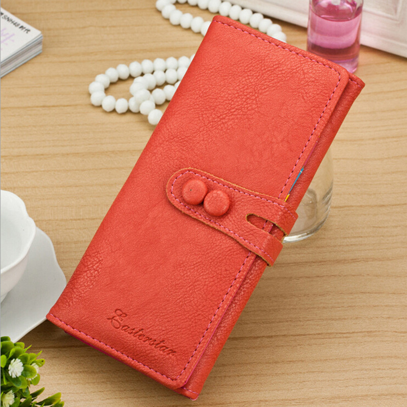 a8e81216572 US $7.98 |2018 New Vintage Women Wallets Soft Pu Leather Female Long Wallet  Button Design Ladies Clutch Purse Money Bag Portefeuille Femme-in Wallets  ...