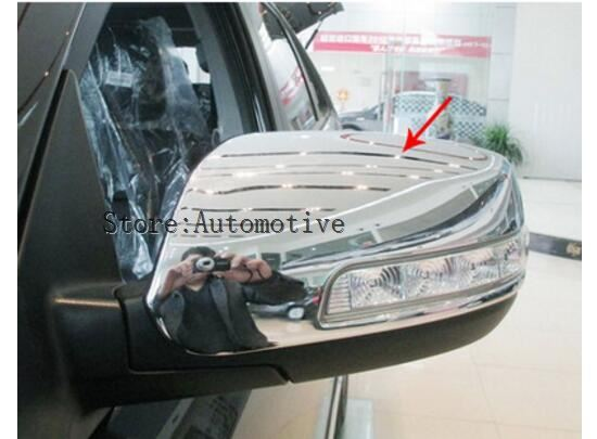 2pcs/lots Car Styling <font><b>Chrome</b></font> Side Door Plating Decorative Rear <font><b>Mirror</b></font> Cover For <font><b>KIA</b></font> Sorento 2013 2014 image