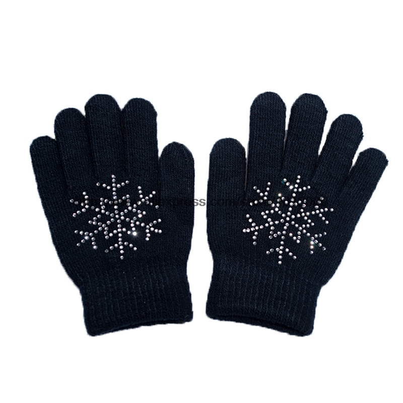 10 Colors Magic Wrist Gloves Figure Skating Ice Training Gloves Exquisite Warm Fleece Thermal Child Adult Snow Rhinestone 4
