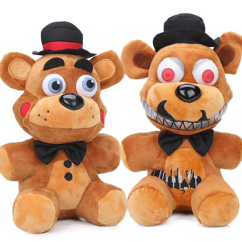 27cm 2 estilos pesadelo freddy fazbear brinquedos de pelúcia cinco noites no freddy macio bonecas de animais de pelúcia fnaf juguetes de peluche bebe