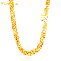 Dragon Head Handmade Chain Vietnamese Gold 24K Gold Plated Width 8mm Trendy Men Necklace Jewelry Color