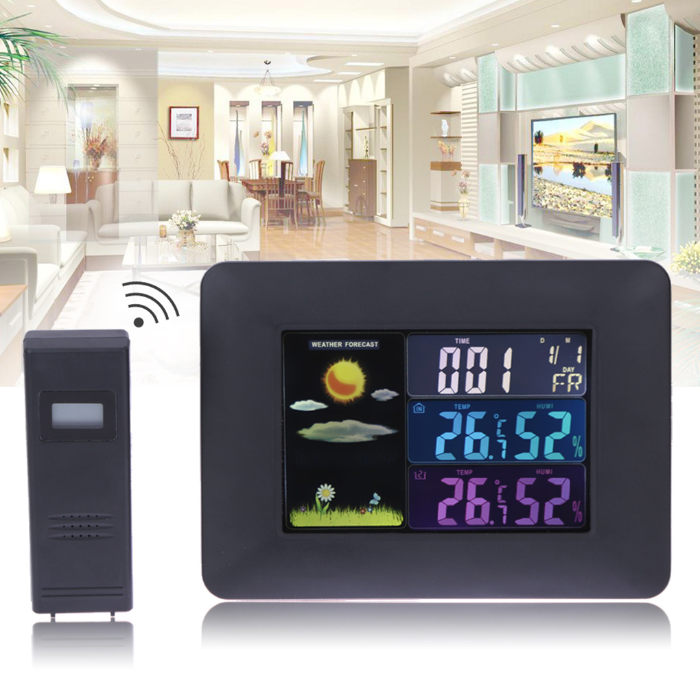 Color LED Backlight Weather Station Digital Wireless Sensor Thermometer Hygrometer In/Outdoor Clock Temperature Humidity Meter smart multi functional weather station color led in outdoor electronic thermometer hygrometer home wireless comma weather clock