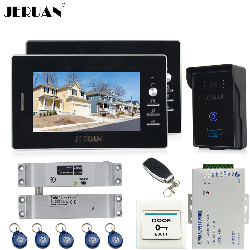 JERUAN two 7`` luxury Video Intercom Entry Door Phone System+700TVL Touch Key Waterproof RFID Access Camera+Electric Bolt lock jeruan new 7 video intercom entry door phone system 1monitor 700tvl touch key waterproof rfid access camera remote control