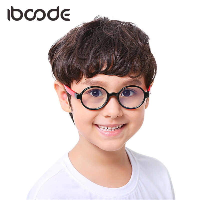 iboode Round Silicone Children Soft Glasses Blu-Ray Proof Clear Lens for Boys Girls Eyewear Protect Glasses Goggle Comfortable