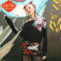 2019 New Autumn Ethnic Style Loose Embroidery Long Sleeve T shirt Girl