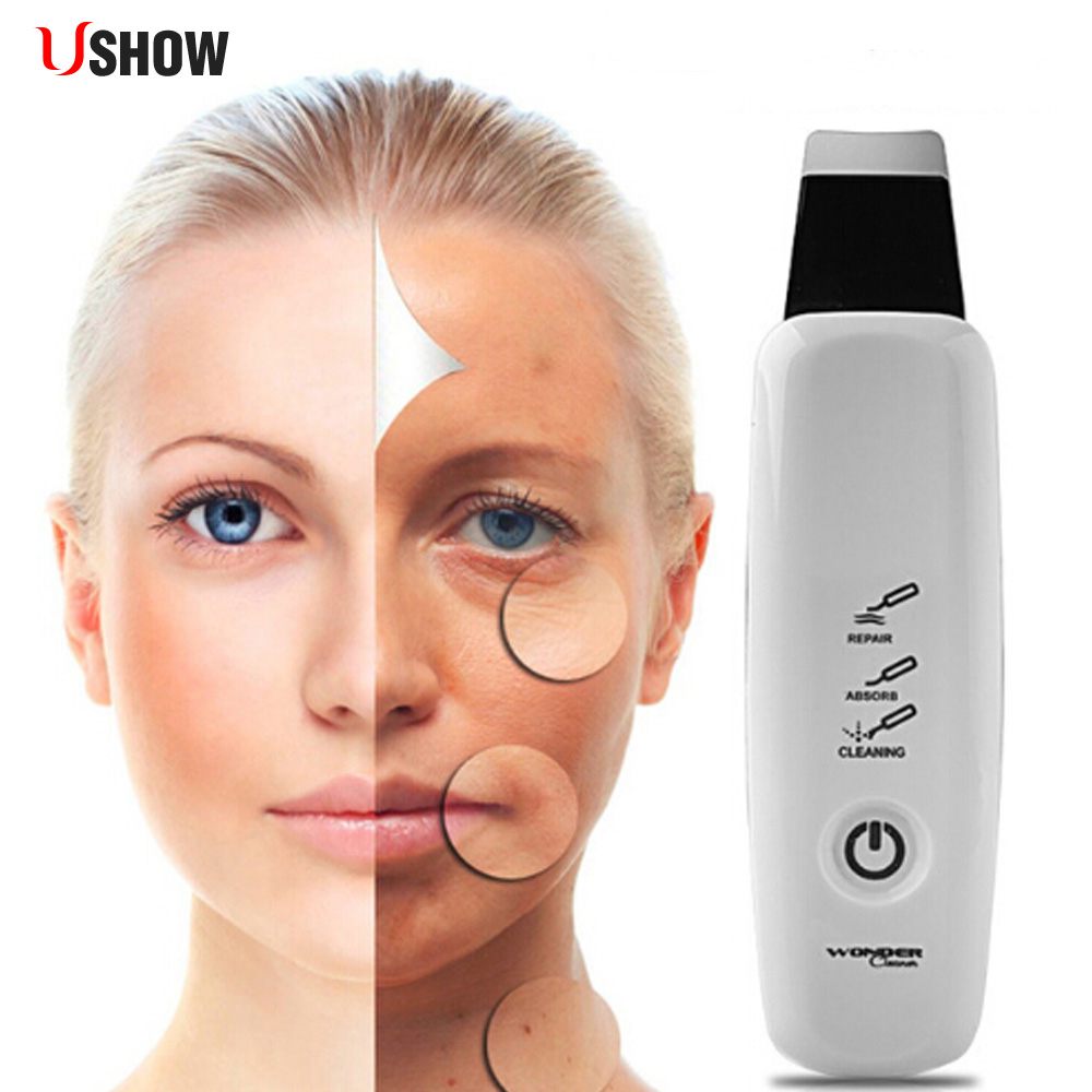 USHOW Ultrasonic Face Cleaner Pore Cleansing Device Blackhead Acne Removal Beauty Care Massager Facial Lift Machine electric facial cleanser cleansing brush vibration face cleaner machine blackhead removal washing skin care massager