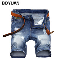 BOYUAN Jeans Men Short Pants Cotton Shorts For Men Casual Male Shorts Denim Men 2017 Summer Knee Length Ripped Jeans Short X684