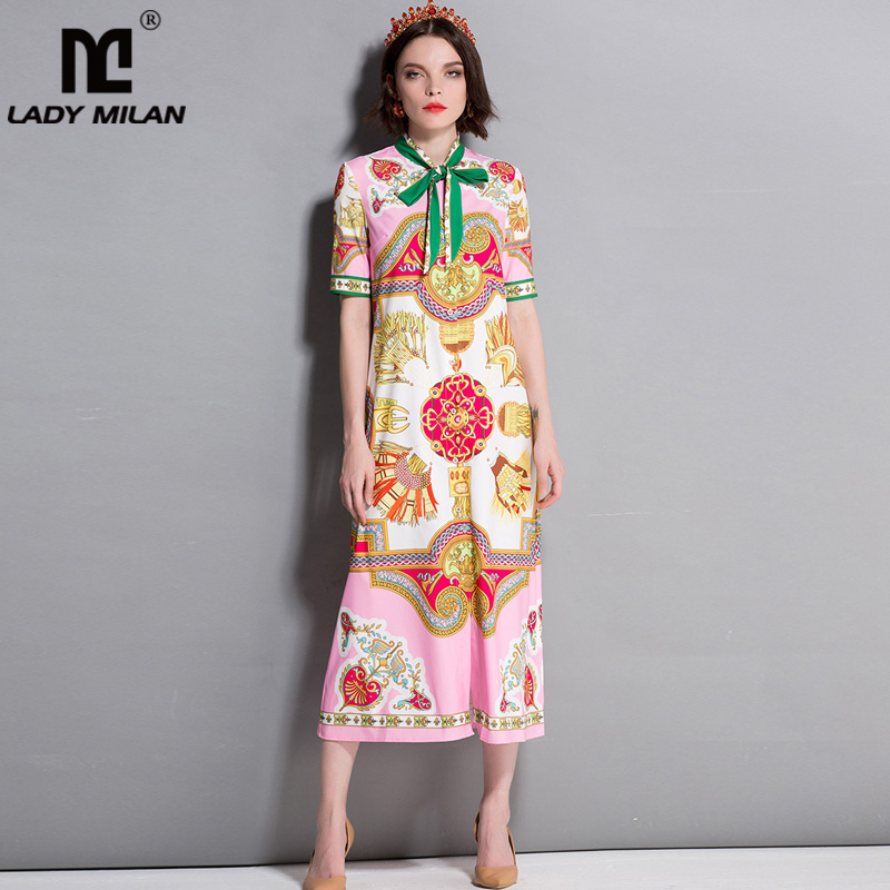 New Arrvial Womens Bow Detailing Short Sleeves Printed Fashion Casual Mid Calf Runway Dresses