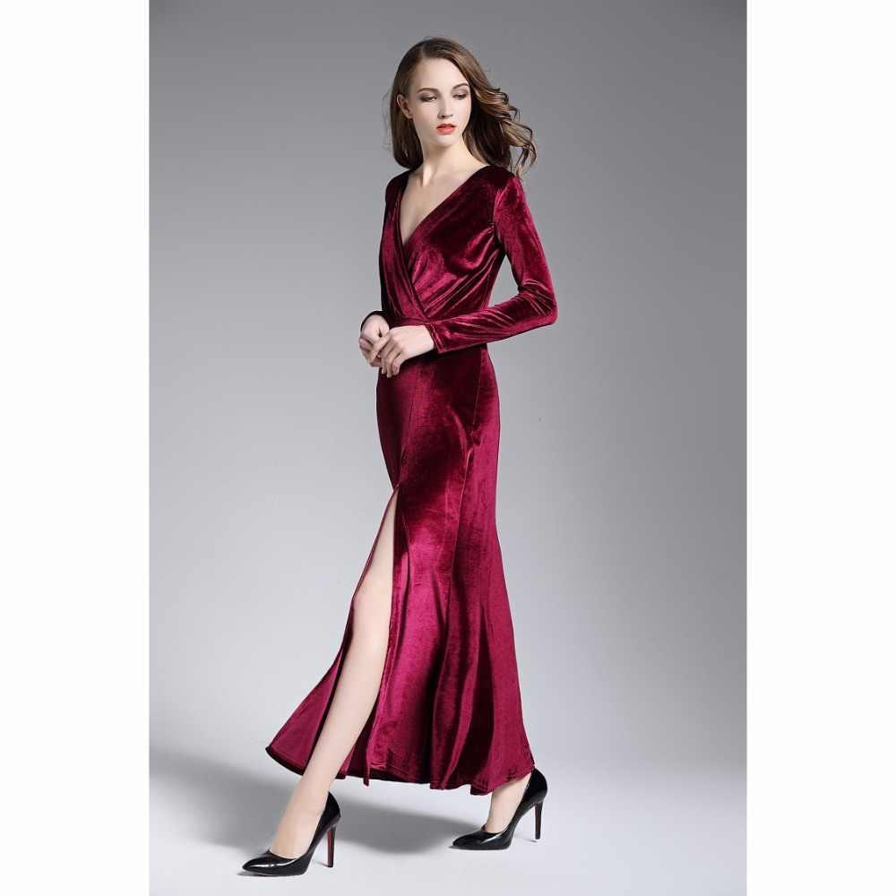 4a0e68806f823 Women Sexy Velvet Dress Long Sleeve V-Neck Front Split Maxi Dresses MT1007