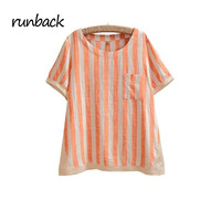 Runback 2018 raya de lino señoras tamaño lino fino flojo chino vintage camiseta o-cuello más tamaño mujeres ropa de lino Tops