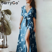 BerryGo Boho floral print beach maxi dress Women high waist split long dress female Sexy v neck wrap summer dress vestidos 2018
