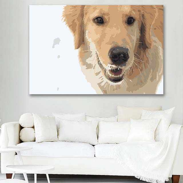 DIY colorings pictures by numbers with colors Loyal dog golden hair horse picture drawing painting by numbers framed Home