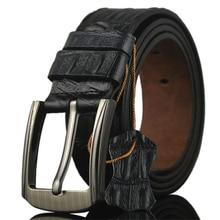 New Mens Belts Good Quality Cowskin Split Leather Waist Straps Alloy Buckle Alligator Pattern Retro Men Leisure Jeans Belt
