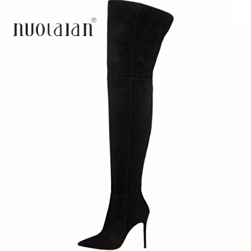 10.5 CM High Heels Thigh high Boots Shoes Women Winter Snow Shoe Woman Black Stretch Slim Over The Knee Boots Long Winter boot black leather thigh high boots women 9cm high heel over the knee boots woman motorcycle boot snow winter boots with fur shoe
