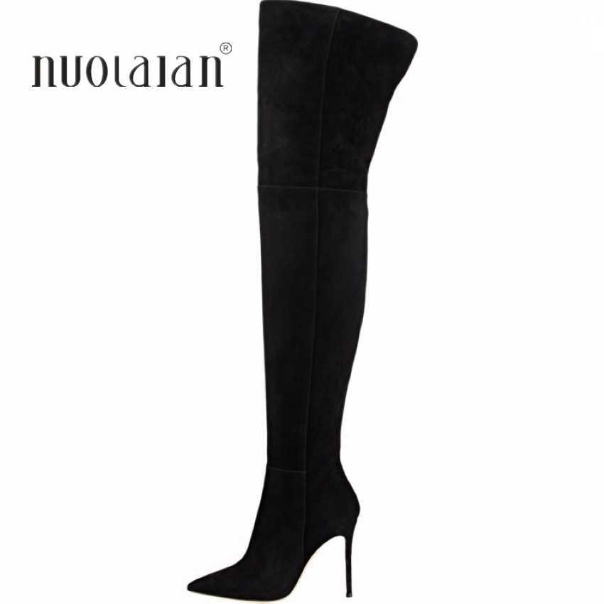 10.5 cm Cao Gót Đùi cao Boots Giày Phụ Nữ Mùa Đông Tuyết Giày Phụ Nữ Da Đen Stretch Slim Trên Khởi Động Đầu Gối dài khởi động Mùa Đông