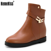 KemeKiss Size 34-43 Sexy Lady Flats Boots Round Toe Metal Decoration Rivet Flat Boot Office Lady Warm Winter Female Botas Mujer