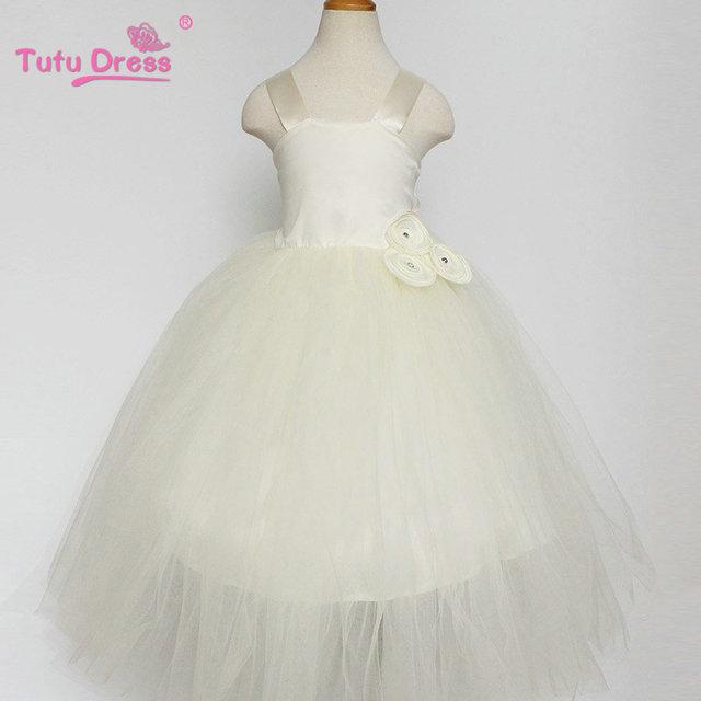 VESTIDO TUTU 1-12 anos de Menina Chão Longo de Tule Tutu Vestido Da Menina de Partido Do Vestido de Casamento