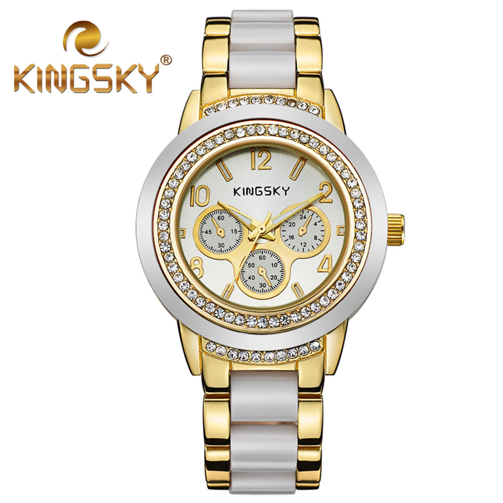 Diamond KINGSKY Brand White Gold Women Dress Watches Fashion Casual Wristwatch Lady Clock Party Rhinestone Quartz Business Watch  kimio fashion brand women watches lady quartz diamond watches lady dress watches female clock women stainless steel wristwatch