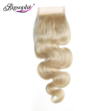 Bigsophy 4X4 Lace Closure Blonde 613 Color Remy Human Brazilian Body Wave Hair Swiss With Baby Extension