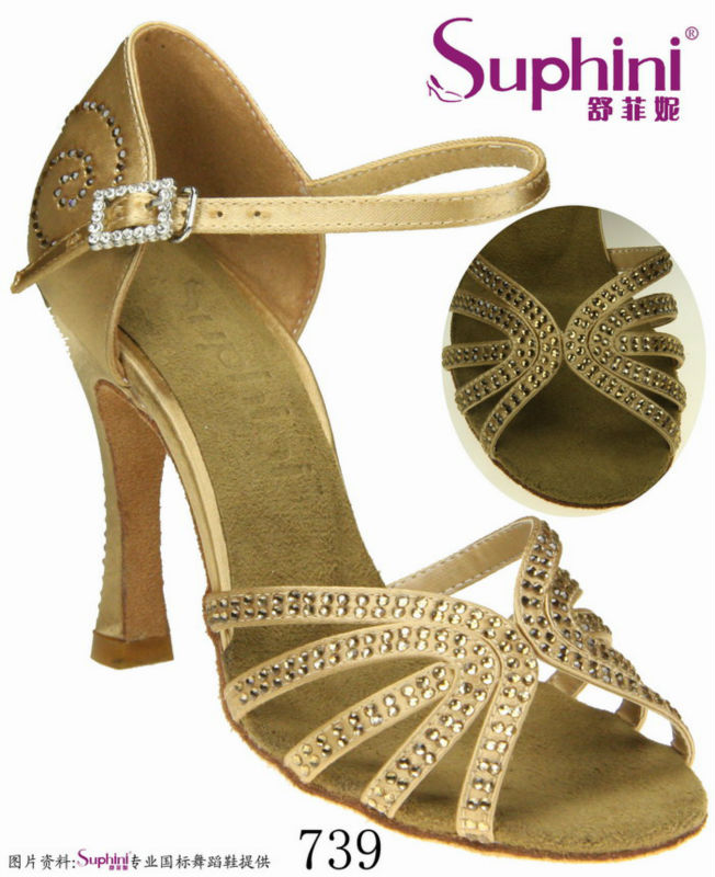 Free Shipping Suphini  739 Woman Dance Shoes  zapato de baile latino para mujer Genuine Leather Soles Latin Dance Shoes