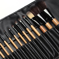 Professional Makeup Brushes Set 18Pcs Brushes In Black Leather Like Ties Case Makeup Brushes Tools Big