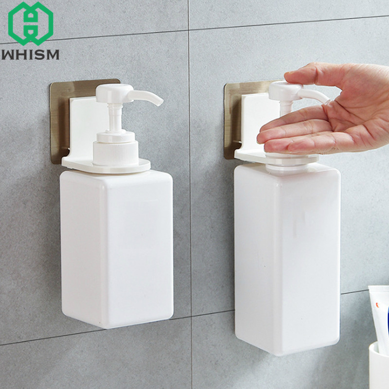 WHISM Plastic Body Shampoo Storage Rack Kitchen Detergent Holder Self Adhesive Wall Racks Shower Gel Shelf Bathroom Organizer
